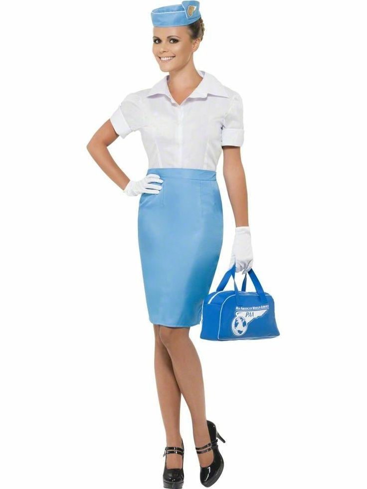 Pan American Cabin Crew Fancy Dress Air Hostess Uniform Costume + Hat + Bag   #Smiffys #CompleteOutfit