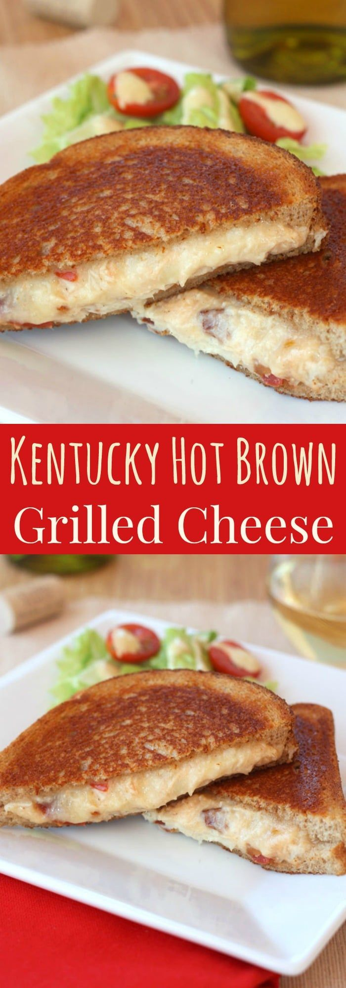 Kentucky Hot Brown Grilled Cheese Sandwich - the Bluegrass State classic filled with turkey and bacon combined with your favorite comfort food in one cheesy sandwich.   cupcakesandkalechips.com