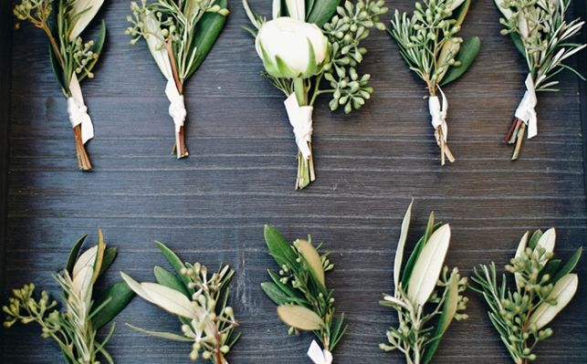 Ranunculus, eucalyptus, and olive branch boutonnieres #primarypetals