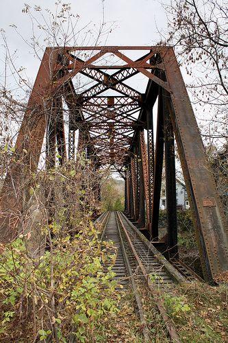 Old Passumpsic River Railroad Bridge    Abandoned Warren through truss bridge over the Passumpsic River on the former Maine Central Railroad in St. Johnsbury, Vermont.