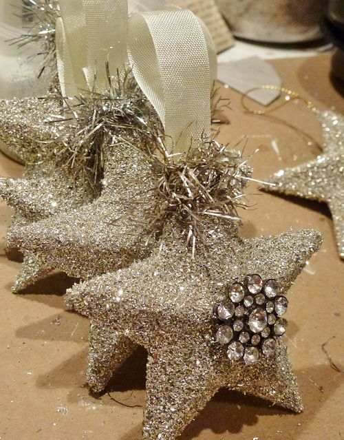 3D glitter stars with tinsel & bling make pretty package toppers, ornaments or wreath embellishments