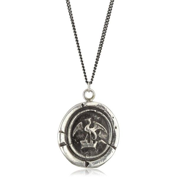 """Pyrrha """"Wax Seals"""" Sterling Silver Dragon In Crown Necklace ($182) ❤ liked on Polyvore featuring jewelry, necklaces, dragon, crown jewelry, 14 karat gold necklace, pyrrha necklace, sterling silver crown necklace and sterling silver jewelry"""