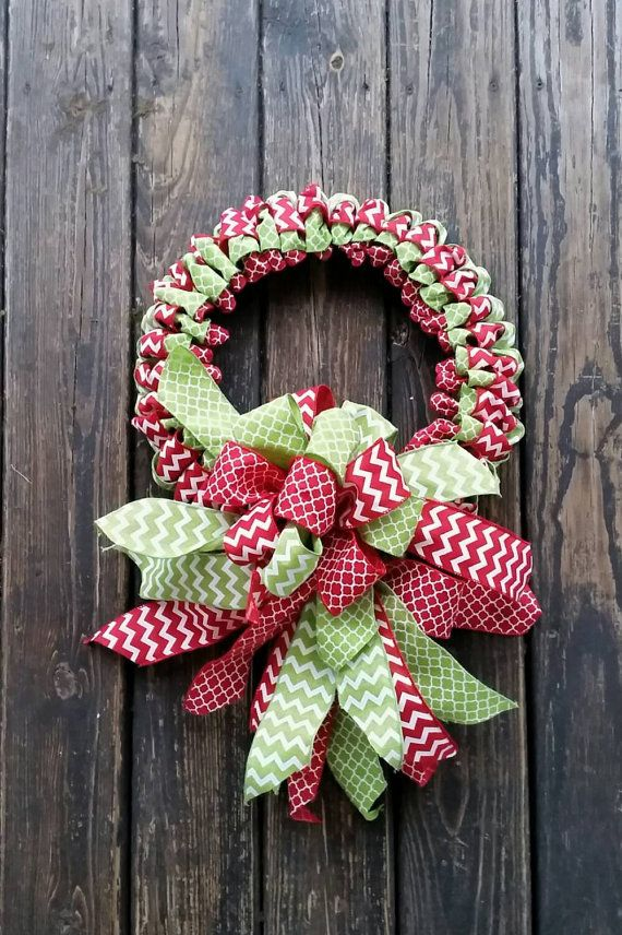 Christmas Wreath, Holiday Wreath, Ribbon Wreath, Christmas Ribbon