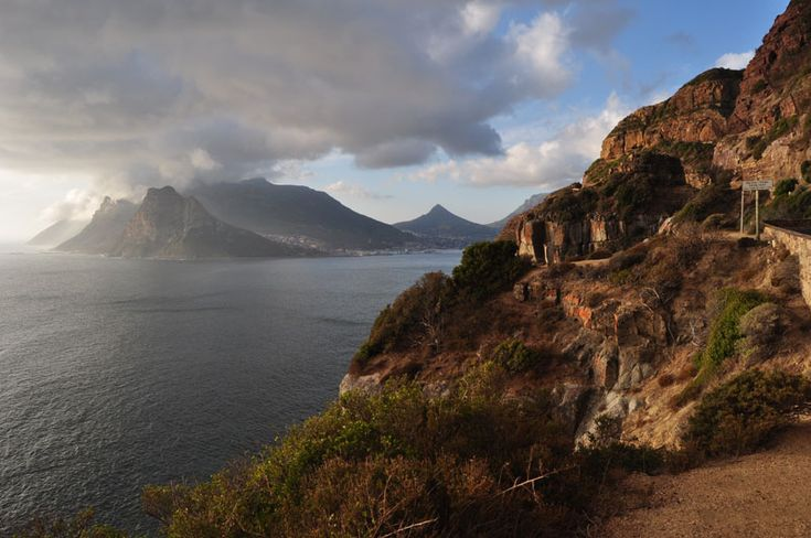 Hout Bay enterance from Chapman's Peak Drive close to sunset. Table Mountain National Park, Cape Town, South Africa.