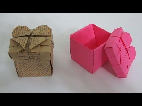 TUTORIAL - Como fazer caixa de Origami Com tampa de coração