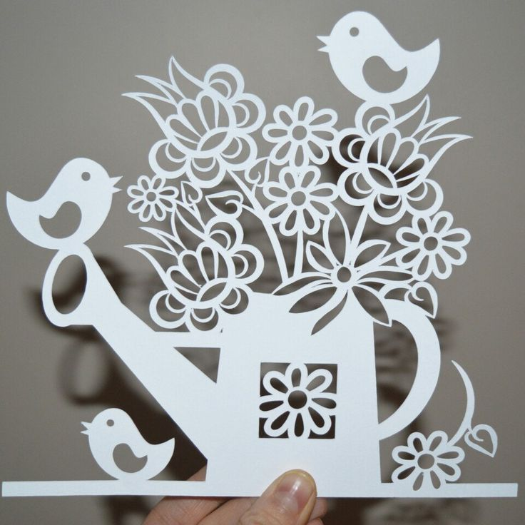 This is my first draft of the watering can paper cut template. I have since slightly amended it and cut it again. The template is now available in our shop!