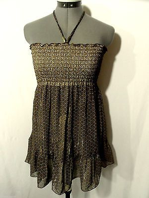 A. BYER Chiffon Indie Boho Top women M Ruffle Brown Gold metallic Smocked empire