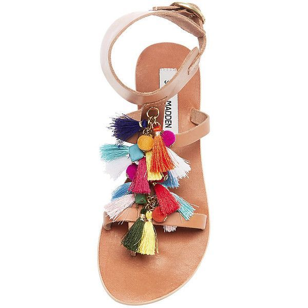 Steve Madden Women's Colorful Sandals (1.065.575 IDR) ❤️ liked on Polyvore featuring shoes, sandals, beaded sandals, steve madden shoes, steve madden flats, multi colored sandals and flat pumps