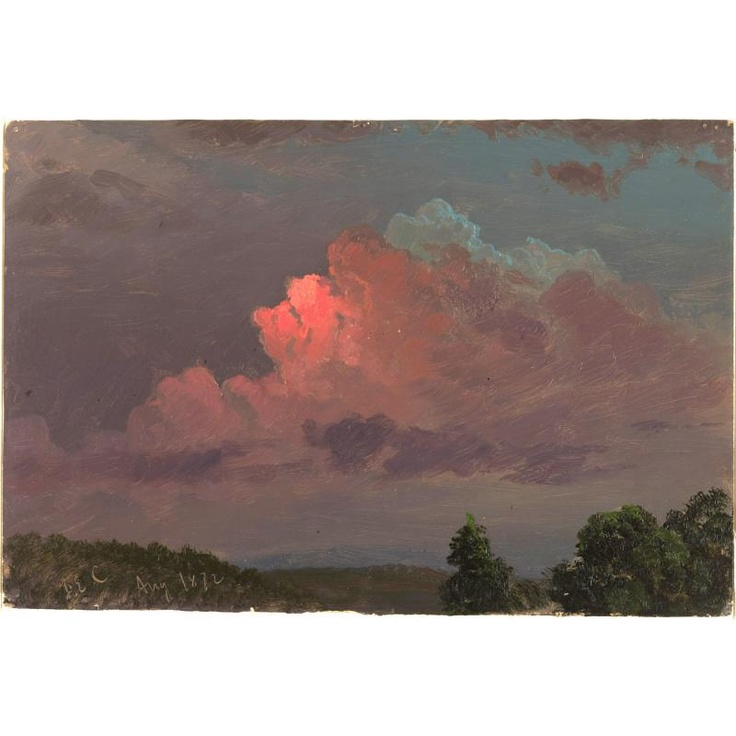Nightfall near Olana, Hudson, New York (August 1872) by Frederic Edwin ChurchFrederic Edwin, Edwin Church, Art Landscapes, Auguste 1872, Beautiful Sky, York Auguste, New York, Pink Clouds, Hudson Rivers