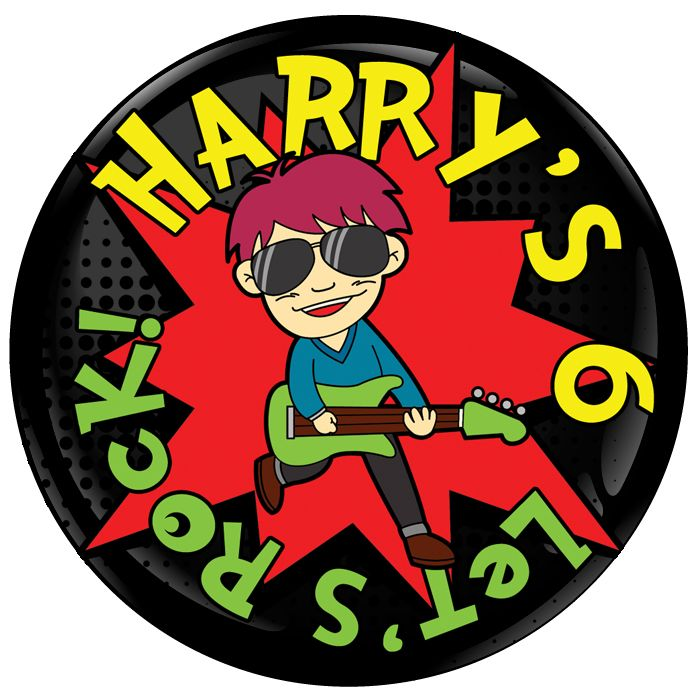 Let's Rock Personalised Birthday Party Badge #411