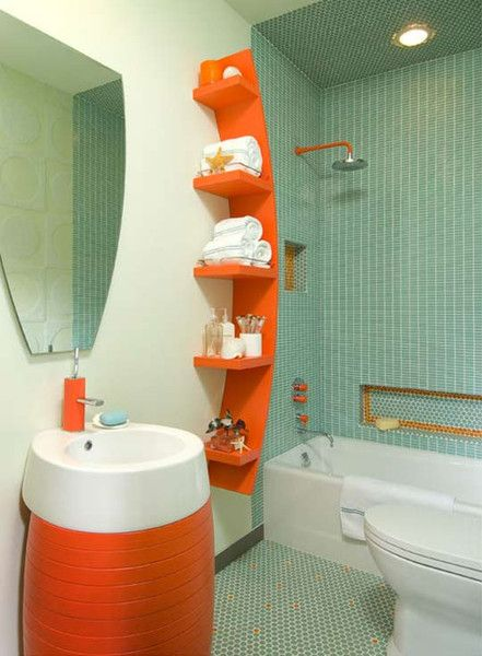 small modern bathroom with soft blue glass tile and bright orange bathroom shelving and accessories... Beautiful Bathroom Inspiration: Orange Bathrooms from The Bathroom Bliss Blog by Rotator Rod, the original curved shower rod that rotates!