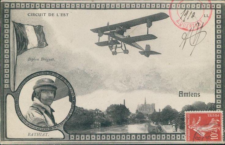 BIPLAN BREGUET CIRCUIT DE L EST AMIENS aviatore BATHIAT aviazione biplano