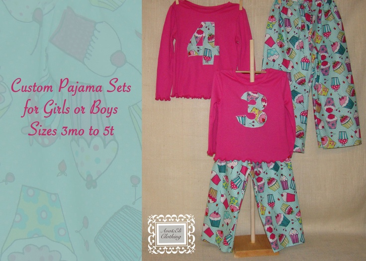 Girls or Boys Pajama Pants and matching Shirt by AvaEliClothing, $20.00