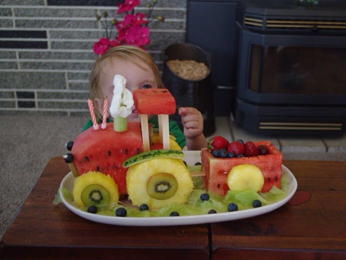 Tractor fruit cake for my son's 2nd birthday, he loved it!