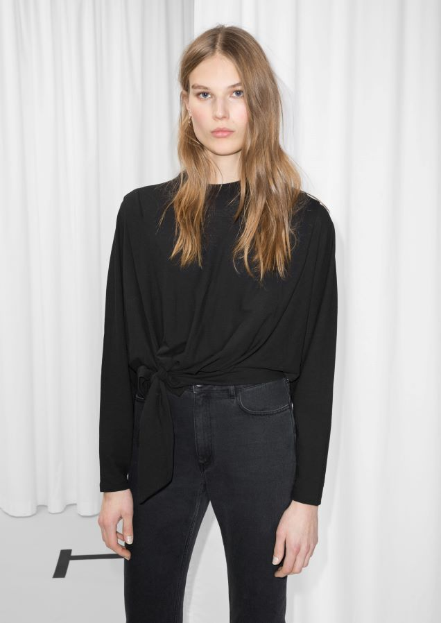 & Other Stories image 2 of Side Tie Top in Black