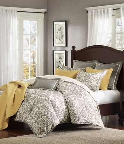 Elegant gray master bedroom decorating ideas - Rhoades Grey Damask Comforter Set