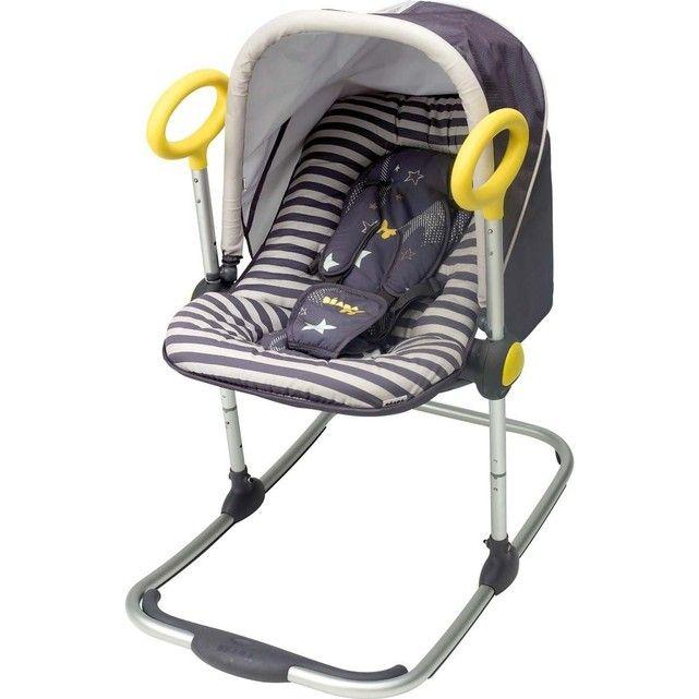 Utilisable de 0 à 6 mois (maximum 9 kg)Le   transat Up & Down est le nec plus ultra du transat pour bébé :   basculant, réglable en hauteur, d'un design ergonomique et très sympa...   un concept innovant et ingénieux pour un confort inégalé !Arche et canopée non fournies Ses atouts :- Dossier réglable et inclinable d'une seule main (3 positions)- Hauteur réglable sur 4 positions par simples pressions- Ultra confortable : microbilles, rembourrage latéral, housse/cale tête amovible- Ba...