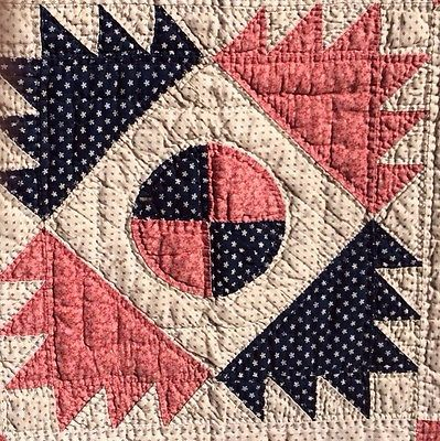 Detail of Antique Delectable Mountain Quilt 1800'S - love the colors