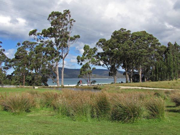 Looking across Adventure Bay Road to Resolution Creek (Two Tree Point) from Bruny Island Berry Farm. Article and photo for Think Tasmania.