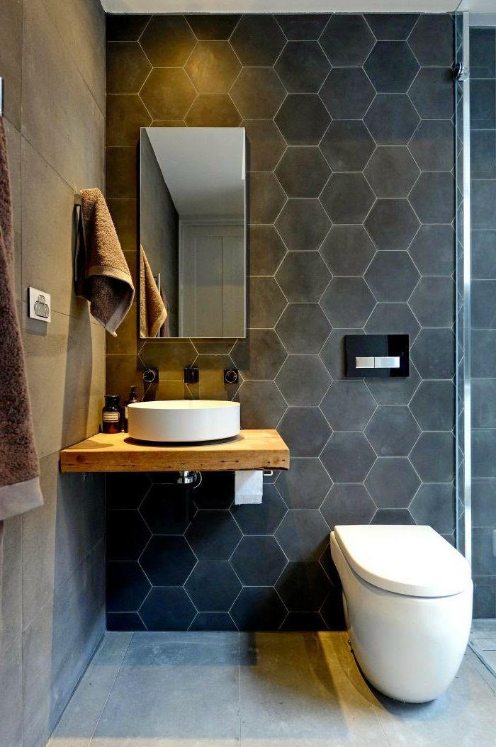 évier céramique, salle de bains sympathique, lavabo à poser, tuiles hexagonales