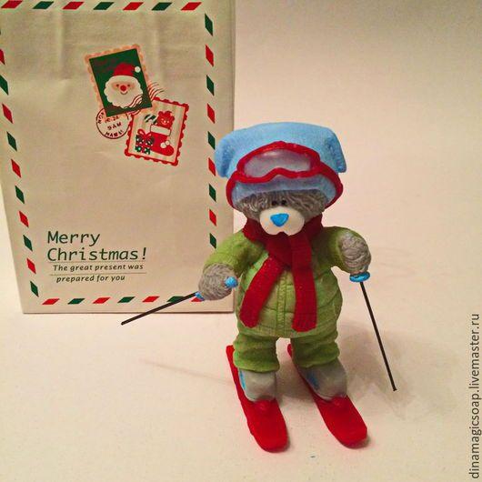 Мыло ручной работы. Ярмарка Мастеров - ручная работа. Купить мыло Мишка лыжник. Handmade. Разноцветный, новогоднее мыло, лыжник