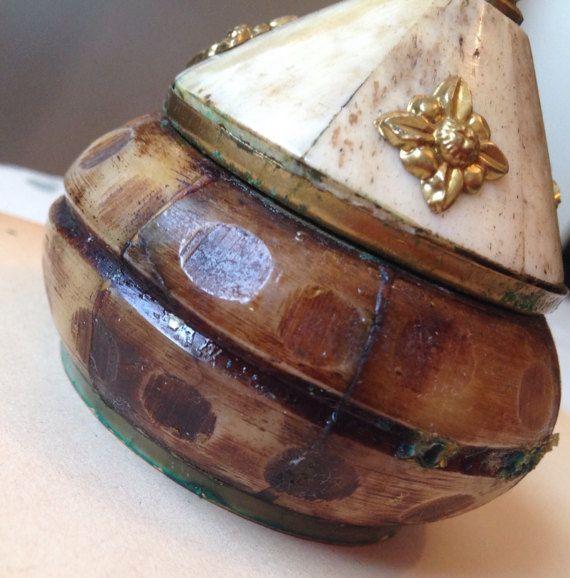 Round Carved Bone Trinket Dish Hand Made Brass by queenbeecanada