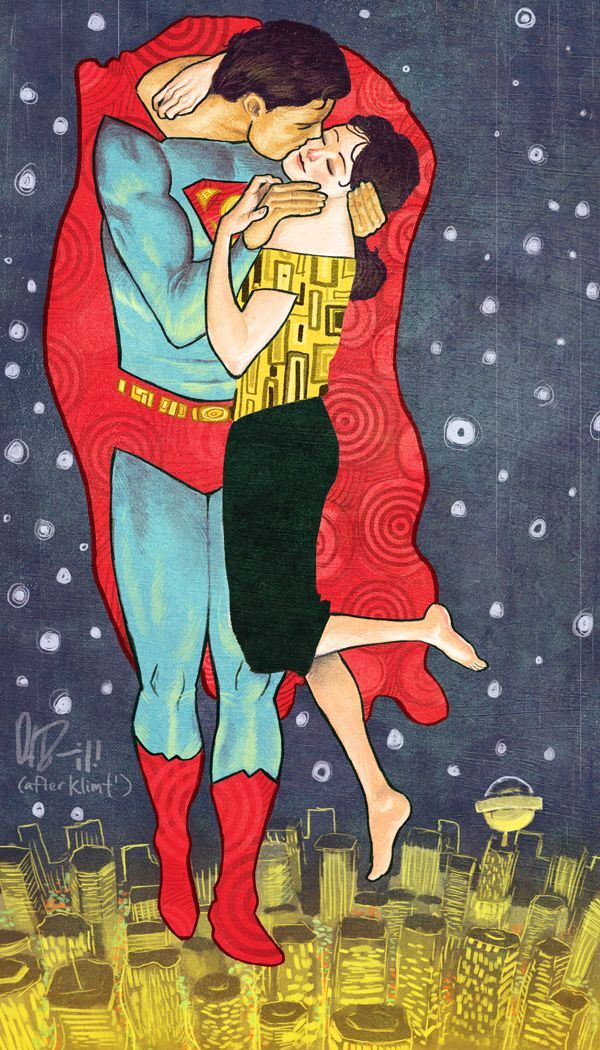In the sky above a golden Metropolis, Superman embraces Lois Lane. Daniel Irizarri Oquendo's illustration takes inspiration from both the Man of Steel and Gustav Klimt's romantic painting The Kiss.