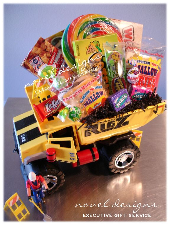 113 best awesome gift baskets images on pinterest creative gifts diy gift idea for kids custom toy truck candy gift basket great little boy gift or easter basket negle Image collections