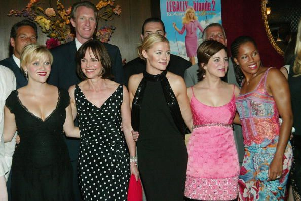 Cast members Reese Witherspoon, Sally Field Jessica Cauffiel, Alanna Ubach and Regina King pose for a photo at the 'Legally Blonde 2: Red, White and Blonde' film premiere at The Ziegfeld Theater in New York City (June 30, 2003)