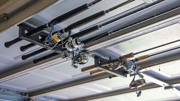 Garage door rod holder fishtrack pinterest garage for Garage door fishing rod holder