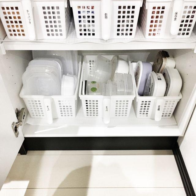 mikurinさんの、整理整頓,ホワイト,セリア,100均,2人暮らし,賃貸アパート,収納ケース,収納,備え付け食器棚,食器棚,使いやすい収納,タッパ収納,ストック収納,シンデレラフィット,のお部屋写真