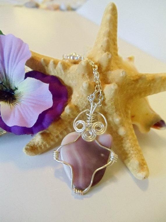 Quahog Clam Shell Pendant Wire Wrapped Necklace by simplysuzie2, $25.00