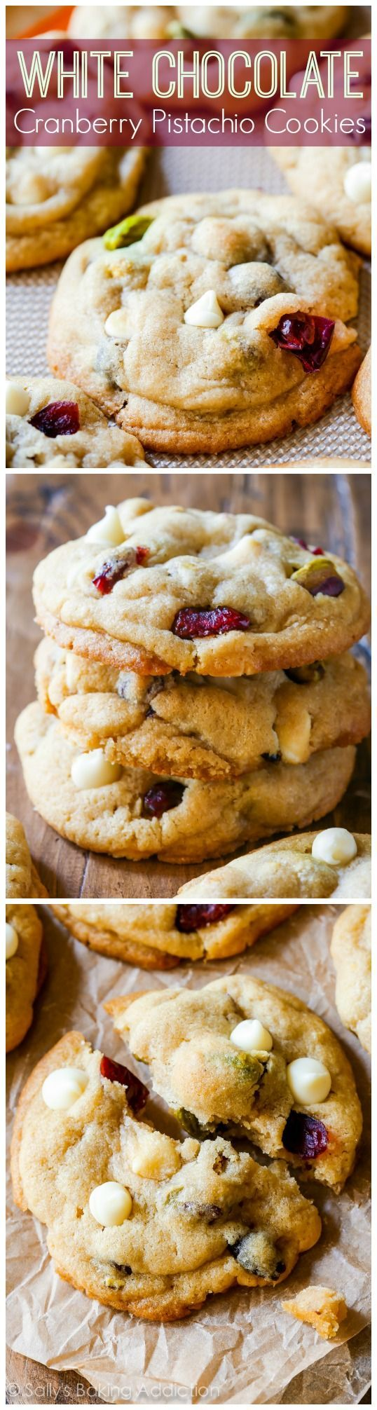 These incredibly soft and buttery, salty and sweet white chocolate cranberry pistachio cookies will be your new favorite. Recipe on sallysbakingaddiction.com