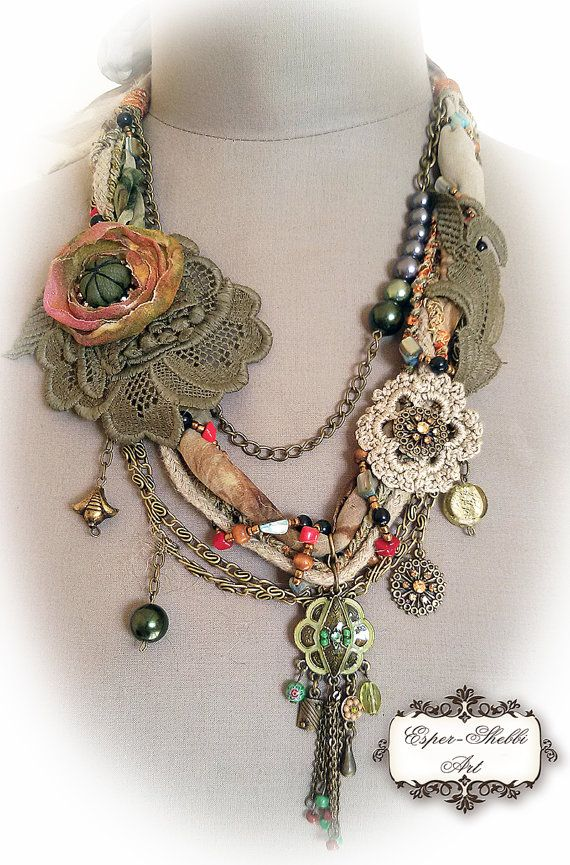 shabby shic sof braided necklace from antique by ShabbyRomanticArt