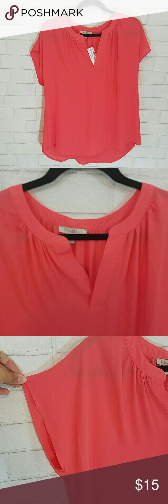 Coral Blouse Roz & Ali light weight coral blouse. Pretty gathering detail around neckline, slightly longer in back. Roz & Ali Tops Blouses