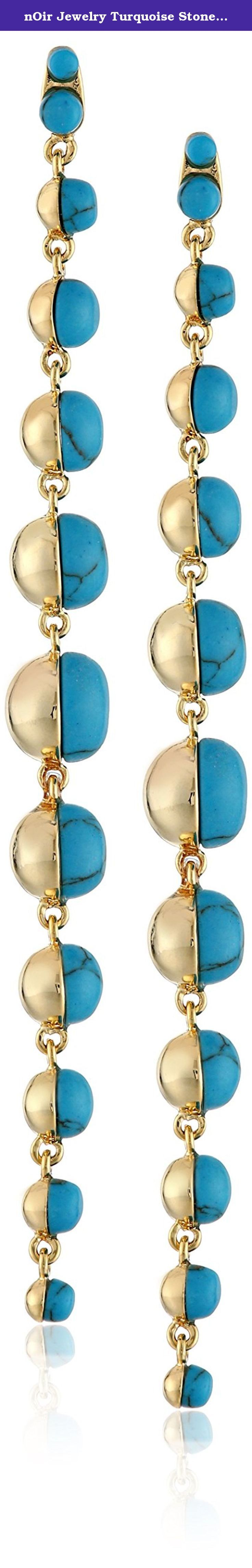 nOir Jewelry Turquoise Stone Cascading Drop Earrings. Made in China.