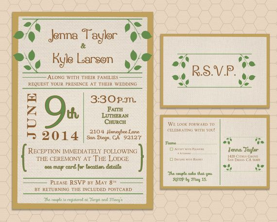 Natural Themed Wedding Invitation Set With Rsvp Card Honeybee
