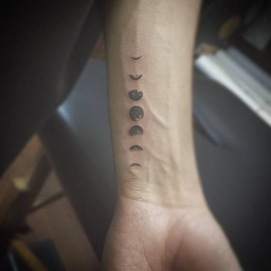 Tiny Lunar Phases Tattoo - http://www.tattooideas1.org/placement/wrist/tiny-lunar-phases-tattoo/