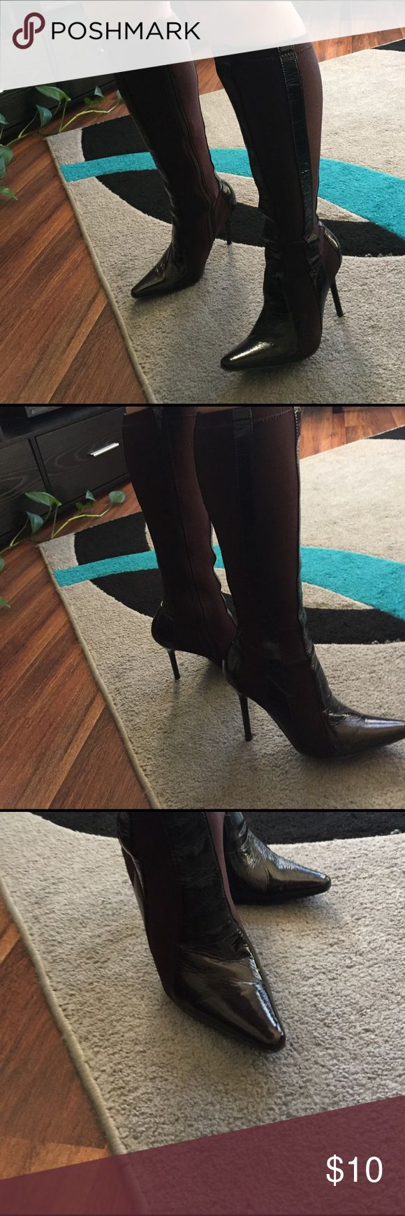 🔥PATENT HIGH HEEL BOOTS🔥 ✨SUPER SEXY✨ Stretch knee high boots. Patent & super stretch material. One zipper is MISSING the pull. But, very easy to put on & off. Great condition!! Worn a few times. Shoes Heeled Boots