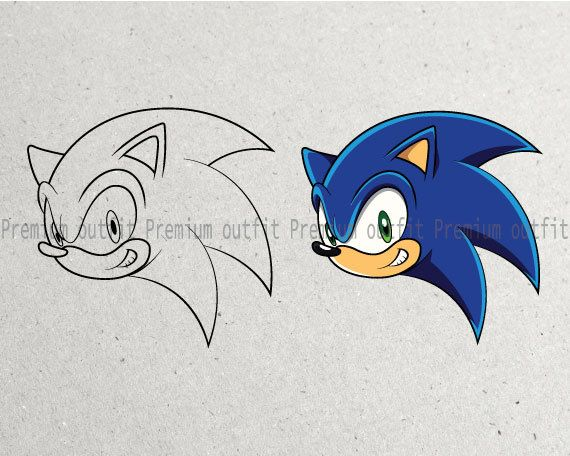 Sonic Head Face Outline And Color Svg Png Pdf Jpg Eps Etsy In 2021 Face Outline How To Draw Sonic Sonic