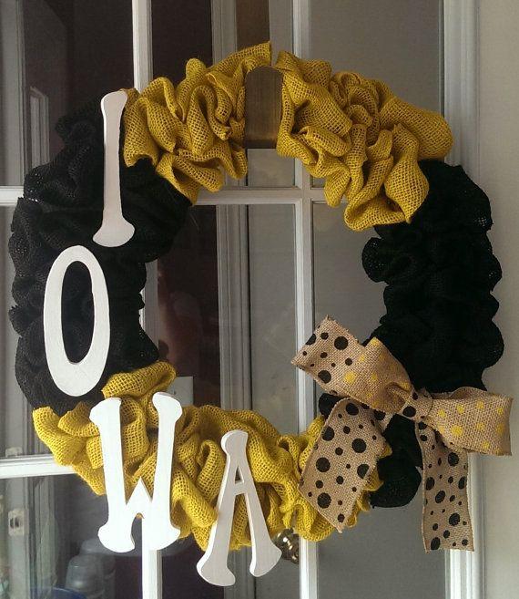 EyeCatching Iowa Hawkeye Burlap Wreath by WelcomestoAdore on Etsy, $32.00