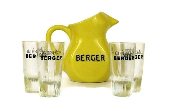 French Bistro Berger Pastis Pitcher and Glass by LeBonheurDuJour