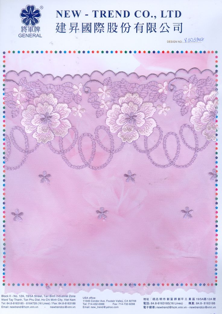 # 8303947  New-Trend Co., Ltd. Lace & Embroidery with the Vietnamese touch