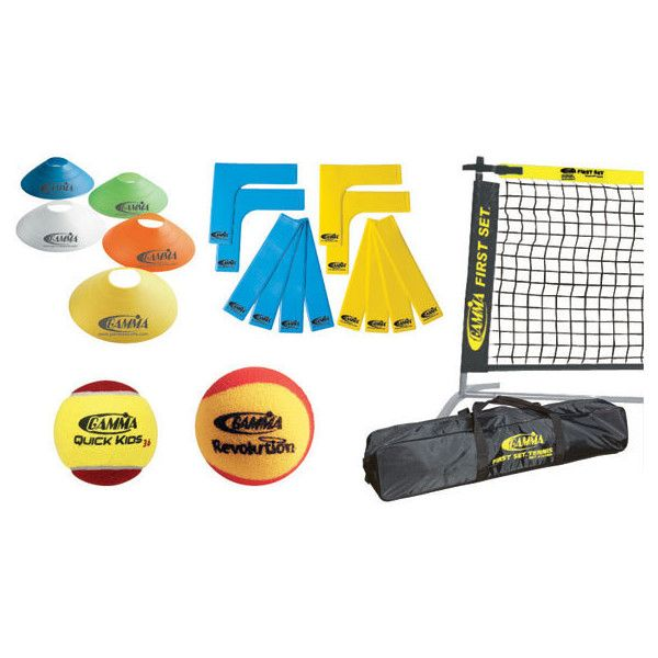The Gamma First Set 36' Tennis Court Kit is a perfect starter kit for any youngster looking to get into the game in a big way. Conforming to the USTA Quick Start tennis program and ITF Stay n' Play guidelines, the Gamma First Set 36' Tennis Court Kit includes 1 18' First Set Jr. Net, 2 Revolution Foam Balls, 12 Quick Kids 36 Tennis Balls, 12 Court Marker Lines, 5 Disc Cones. So get ready to get big with the Gamma First Set 36' Tennis Court Kit.