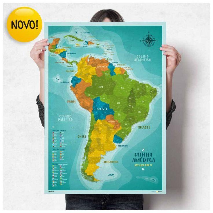 Pôster Mapa América do Sul e América Central com 220 Pins Adesivos para marcar suas viagens | Presente para Apaixonados por Viagens