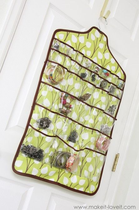 Hanging Jewelry Holder - Once you know how to make a hanging jewelry organizer there's no excuse to let your jewelry collection clutter up your bedroom. The Hanging Jewelry Holder is great for home and if you're looking for how to make a travel jewelry case, it's easily transportable!