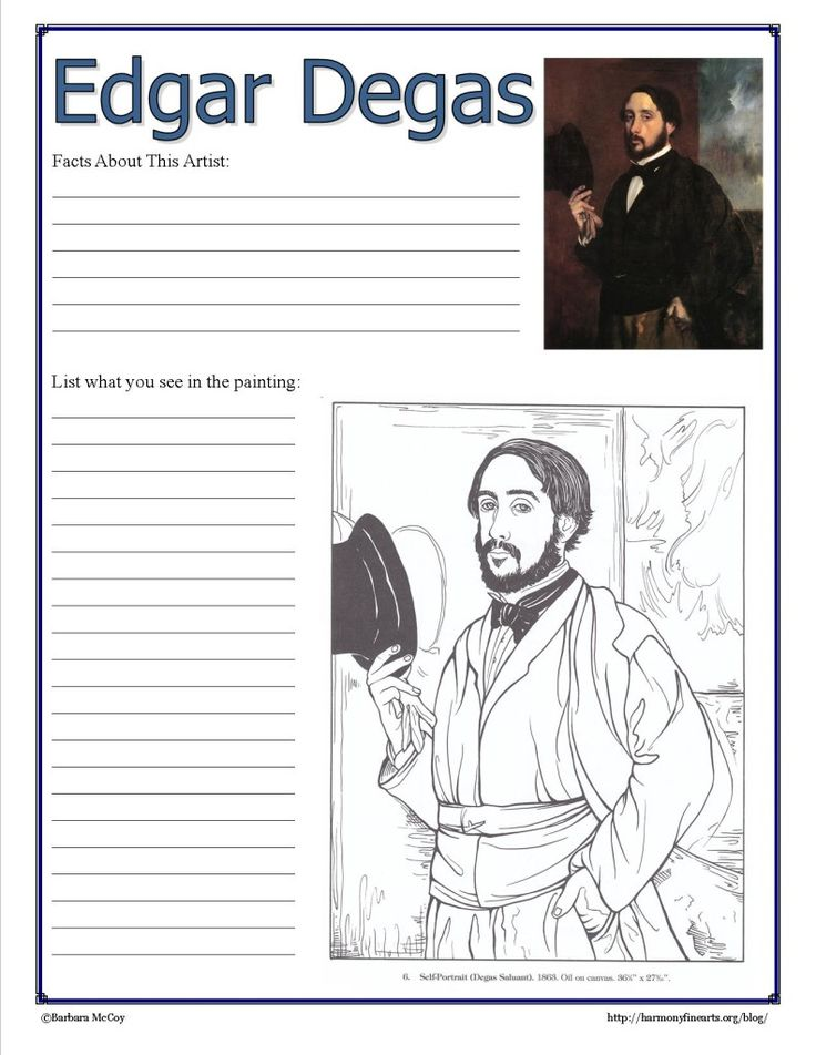 I started my 10 week long Intimate Impressionists series with Edgar Degas. Comes with a printable Degas Notebook Page. @Harmony Mauzey Fine Arts