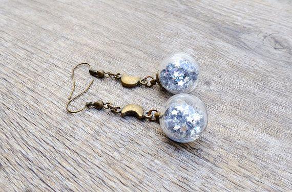 Orecchini stella argento, orecchini in vetro di globo, fiala, flacone di cristallo, in attesa di luna, gioielli della Boemia, lune e stelle,