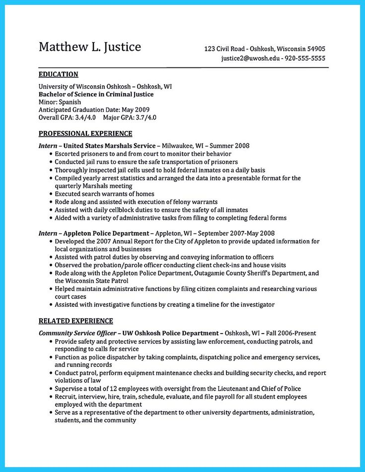 awesome Best Criminal Justice Resume Collection from Professionals,
