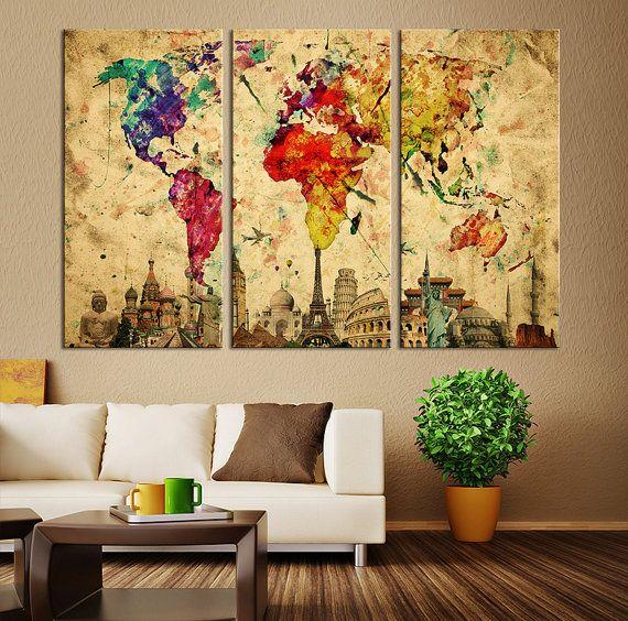 Aquarell-Welt Karte Canvas Print große Welt von ExtraLargeWallArt